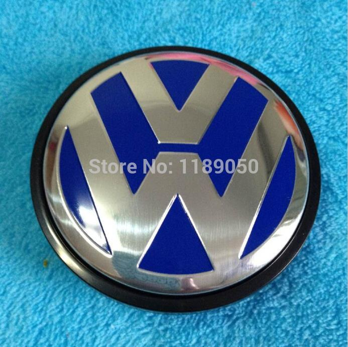 4x 65mm blue vw wheel center hub cap cover volkswagen logo. Black Bedroom Furniture Sets. Home Design Ideas