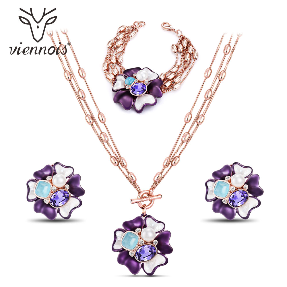 Viennois Fashion Women Jewelry Rose Gold Color Flower Pendant Purple Crystal Opal Stone Necklaces Earring and Bracelet Set
