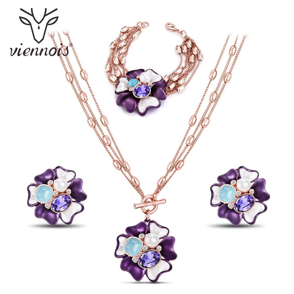 Viennois Fashion Women Jewelry Rose Gold Color Flower Pendant Purple Crystal Opal Stone Necklaces Earring and Bracelet Set rhinestone opal flower bracelet for women