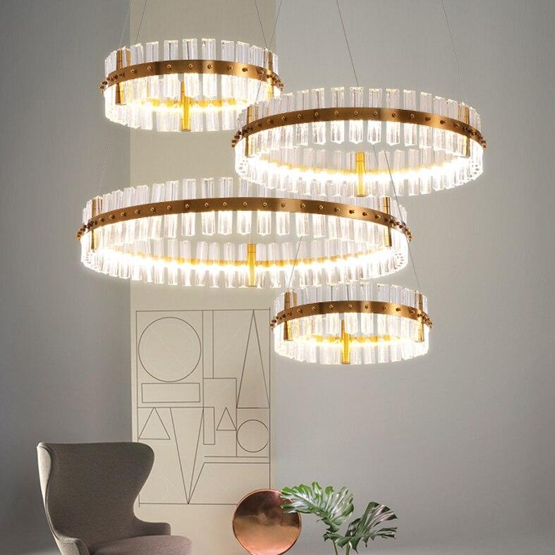 LED lumières lustre en cristal moderne Style européen rond brillant lustres en cristal luminaires luminaire intérieur de luxe