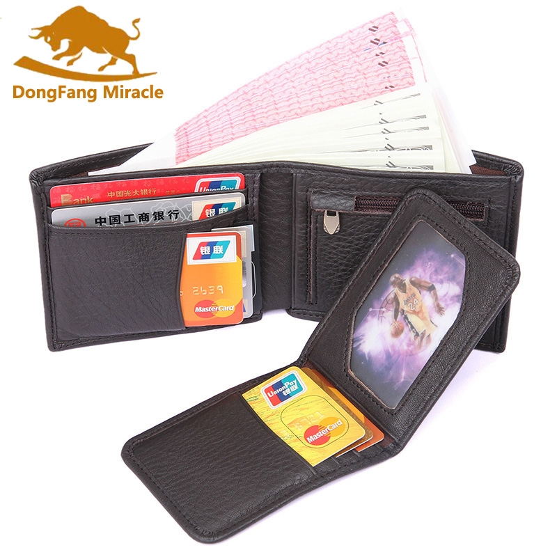 Top Genuine Leather Casual Mens Wallet Removable Card & ID Holders Short Bifold Male Walets Coin Bags