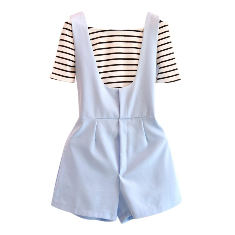 Women Two Pieces Clothing Set Striped Slash Neck +Rompers Short Fashion Girls Set