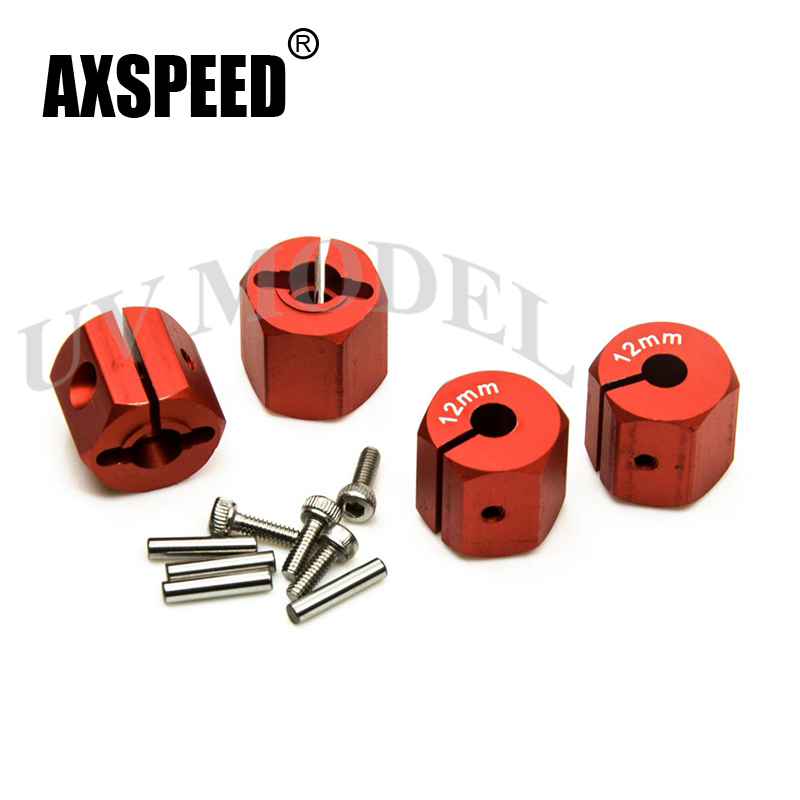 Cool Red 12mm Aluminum HEX Wheel Hub 12mm Thickness Wheels Hubs Mount and Pins High Quality Free Shipping