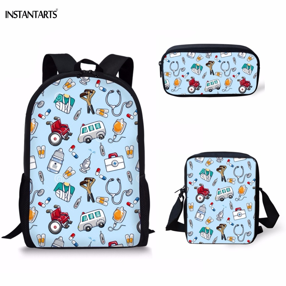 INSTANTARTS Cute Cartoon Nurse Pattern 3PCS Children Schoolbags Middle School Student Backpacks For Teen Girls Casual School Bag