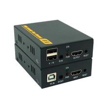 High Quality 500ft 20~60 KHz IR USB Over TCP IP KVM Extender  1080P USB HDMI KVM IR Extender 150m Via RJ45 Cat5e Cat6 Cat7 Cable