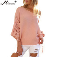 Avodovama M Knitted Autumn Blouses Skew Collar Fashion Long Sleeve Batwing Sleeve Top Knitting Wool Shirts