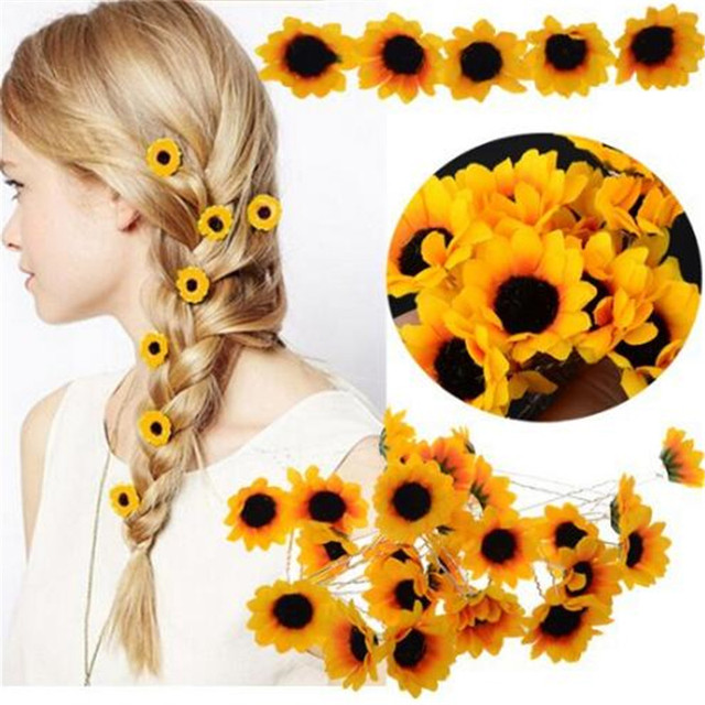 a67b0115a15d0 US $2.27 37% OFF 10Pcs Wedding Bridal Hair Pin Yellow Sunflower Hair Clips  Daisy Hair Cuff Clip Headband Accessories Slide New-in Hair Jewelry from ...