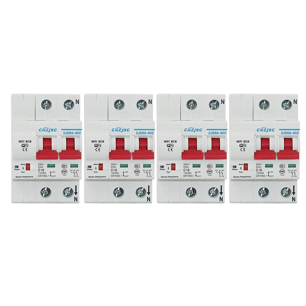 4 PCS 2 P Wi-fi Inteligente Disjuntor religador Automático sobrecarga e proteção contra curto circuito para Amazon Alexa e Google casa