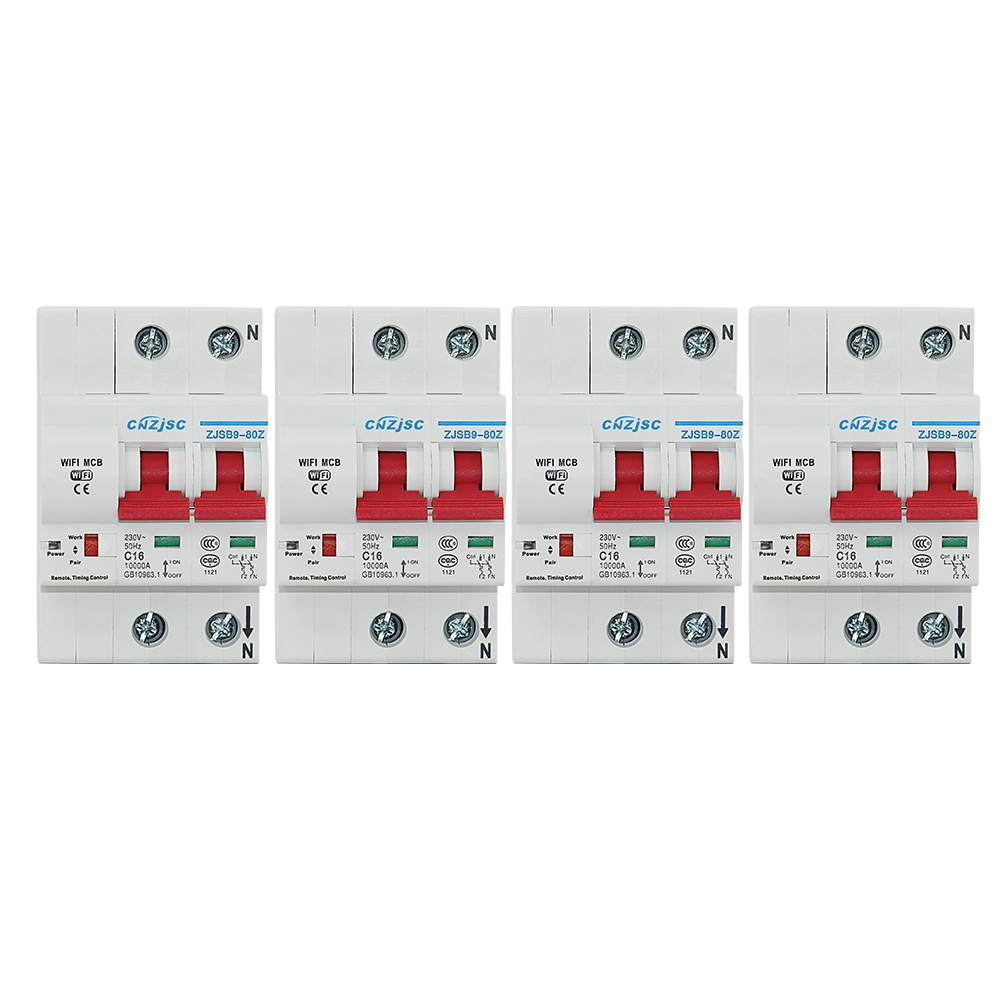 4PCS 2P WiFi Smart Circuit Breaker Automatic recloser overload and short circuit protection for Amazon Alexa and Google home-in Circuit Breakers from Home Improvement    1