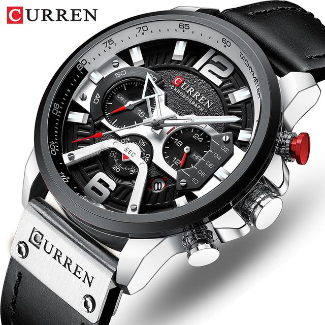 2019 Top marka CURREN modne męskie zegarki wojskowy skórzany wodoodporny kwarcowy zegarek męski Sport chronograf Relogio Masculino