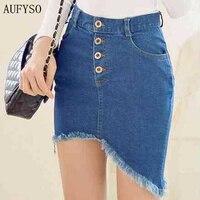 Quality Skirt Women 2015 Summer Fashion Tassel Dovetail Package Hip Asymmetrical Blue Denim Jeans Midi Skirt