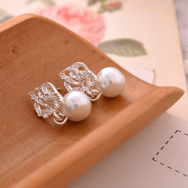 Fashion 1Pair Hot Camellia Rose imitation pearl earrings female jewelry Trendy Ear Studs Wedding Engagement Earrings Gift in Stud Earrings from Jewelry Accessories