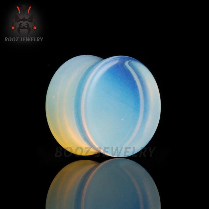 fashion opal stone ear plugs tunnels piercing body jewelry mix sizes 6mm to 16mm lot selling