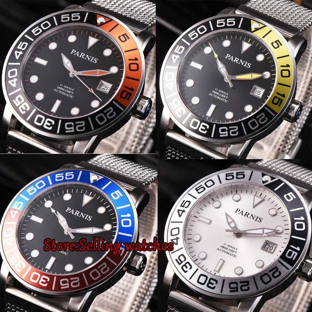 2017ปัญหานำทางชุด42มิลลิเมตรP Arnisนาฬิกา100เมตรวันที่เพียงบุรุษอัตโนมัตินาฬิกาอัลตร้าบางตาข่ายวงส่องสว่างนาฬิกาข้อมือ-ใน นาฬิกาข้อมือกลไก จาก นาฬิกาข้อมือ บน   1