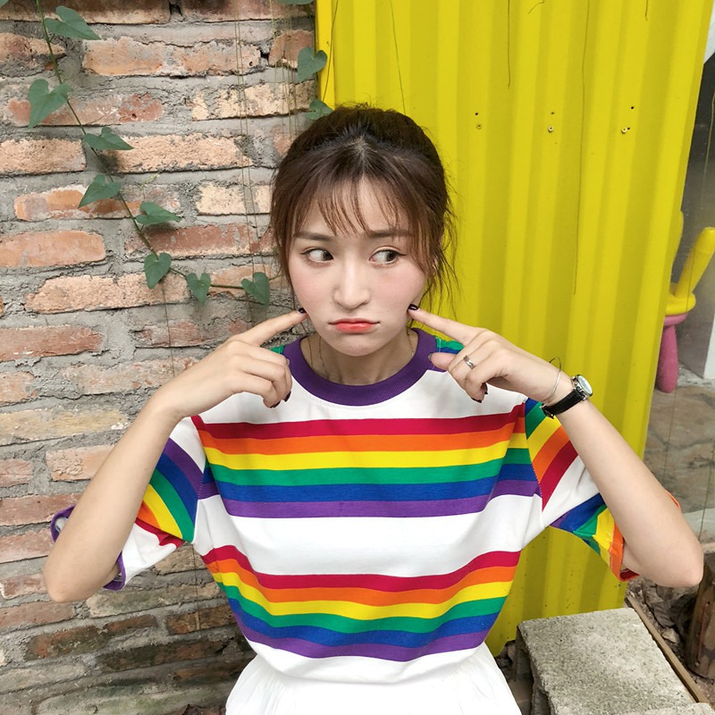 Streetwear Rainbow Color Stripes Women T-shirt Casual Summer Half Sleeve Loose Rainbow Striped T Shirt Tee Tops