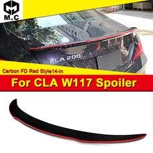 W117 CLA-Class Sedan Carbon Fiber CF Trunk Spoiler Wing FD Red Line Style For Mercedes CLA180 CLA200 CLA250 CLA45 Rear Wings 13- недорого