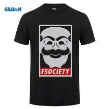 Gildan fsociety camiseta anónima Mr. robot vendetta hombres verano cuello  Masajeadores Camiseta de cuello de los hombres de algo. a2d9ebfb434