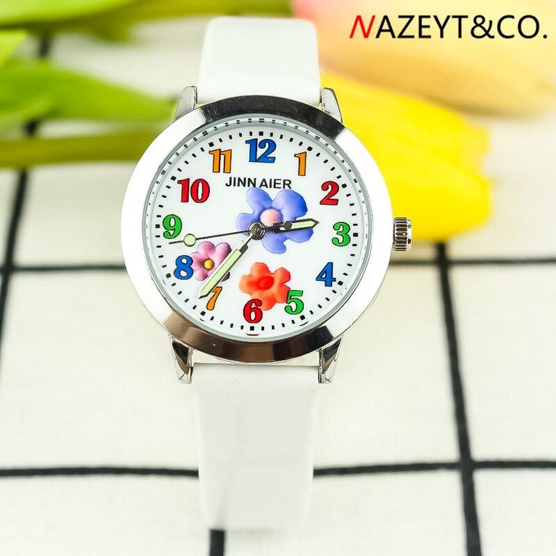 Ppromotion Little Boys And Girls Flower Face Simple Design Quartz Wristwatch Chilidren Kids Luminous Hands Leather Watch