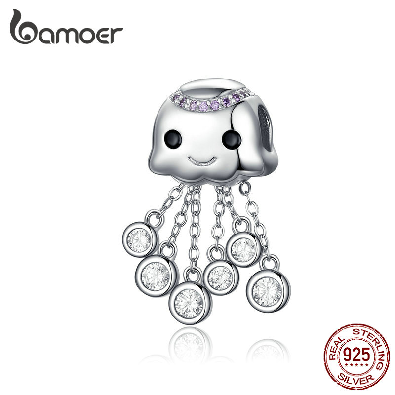 BAMOER Design Jellyfish Charm Real 100% 925 Sterling Silver Child Bead Charms Fit Bracelets Beads & Jewelry Making BSC081BAMOER Design Jellyfish Charm Real 100% 925 Sterling Silver Child Bead Charms Fit Bracelets Beads & Jewelry Making BSC081