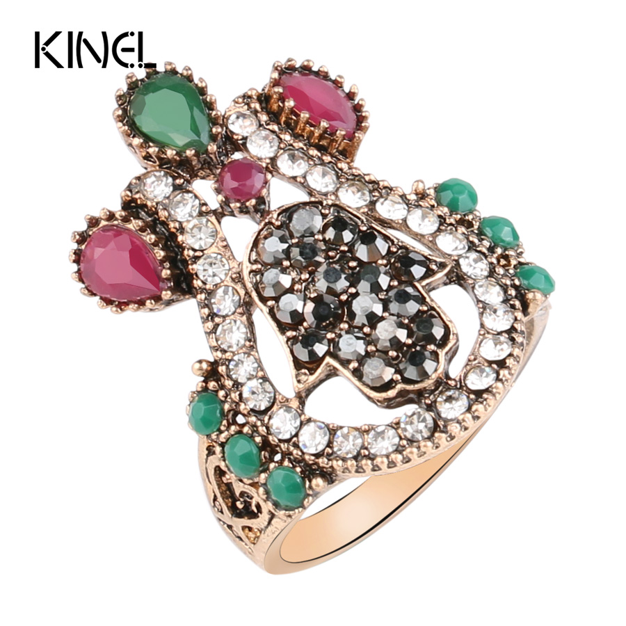 Kinel Turkish Jewellery Vintage Devil Palm Large Rings For Women Gold Color Brand Smykker i 2017