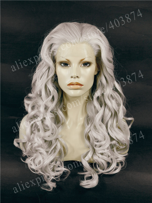 ФОТО Heat Resistant Long Wavy Beauty Grey Cosplay 24Inch Synthetic Lace Front Wig