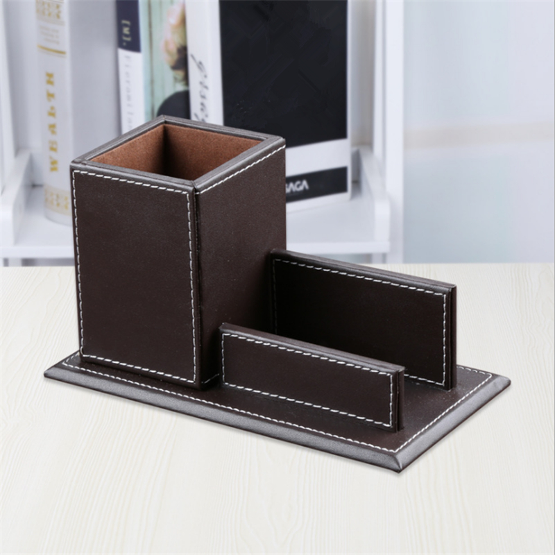 Fashion Simple Rectangular Pu Leather Pen Holder Business Card Holder Storage Box Home Office Storage Organiser|Home Office Storage| |  - title=