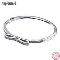 2019 Hot Sale 925 Sterling Silver Bowknot Bangle Bracelet For Women High Quality Popular Noble Classic Fashion Jewelry As Gift