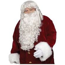 Super Deluxe Santa Claus Wig & Beard Set Adult Mens Christmas Costume Cosplay  Ladies  Heat Resistant Hair Wigs FREE SHIPPING цена
