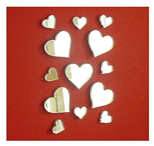 Autocollant petit miroir coeur, 80 (3 cm) et 80 (5 cm) cœurs