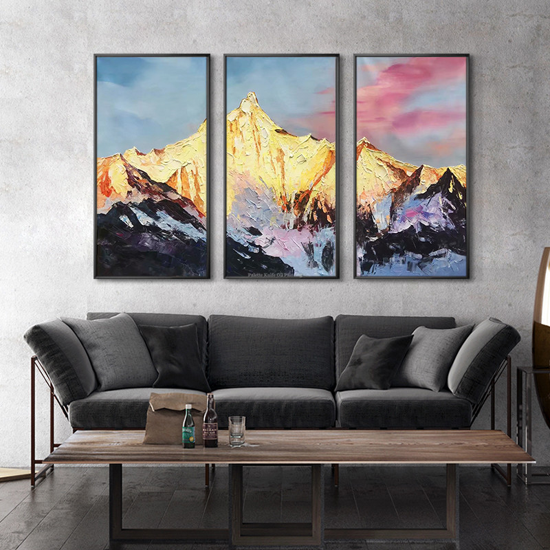 Us 136 74 14 Off Snow Mountains Peaks Oil Painting On Canvas Original 3 Pieces Texture Extra Large Wall Art For Living Room Home Cuadros Qudraos In