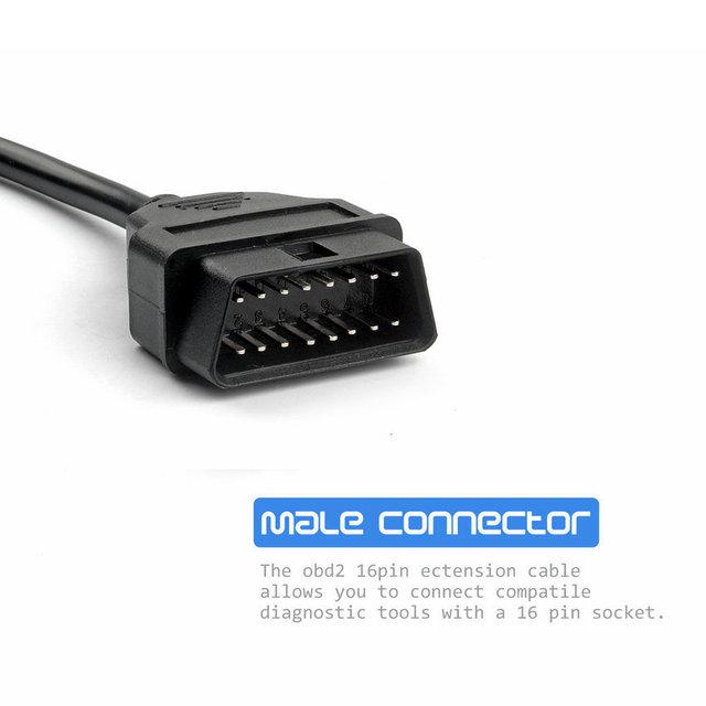 ELM327 OBD2 16Pin Male to Female Extension Cable 30cm Transfer OBD Connector OBD2 16 pin Adaptor OBD2 Car Diagnostic Adapter