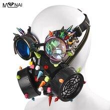 فاسق متعددة اللون المسامير نظارات الغبار وجه قناع واقي من الغاز Steampunk من ازياء الملونة المسامير نظارات مع قناع مجموعة حزب هالوين