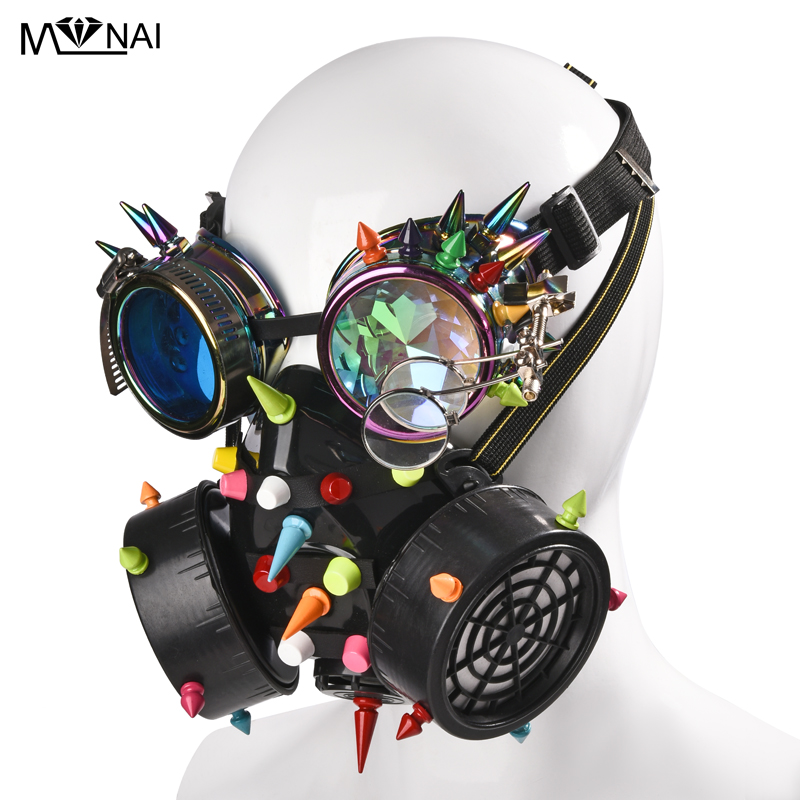 Punk Multi color Rivets Goggles Face Dust Gas Mask Steampunk  Costumes Colorful Spikes Glasses with Mask Set Party HalloweenBoys  Costume Accessories