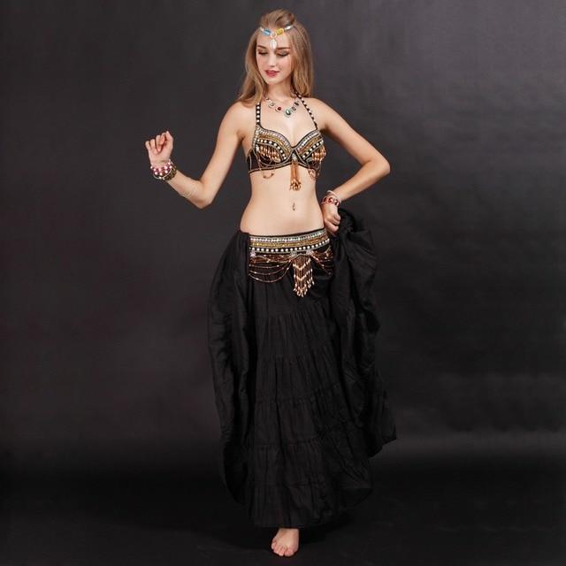 Performance Tribal Belly Dance Clothes for Women 3 Pieces Outfit Set  Antique Bronze Beads Bra Belt 4d075be3e3c6