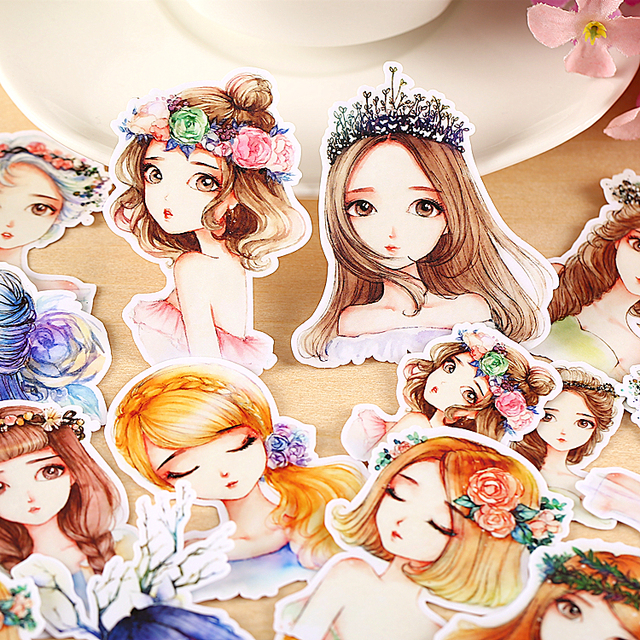 15pcs Self-made Drawing Mori Girl Lady Scrapbooking Stickers Decorative Sticker DIY Craft Photo Albums Decals Diary Deco