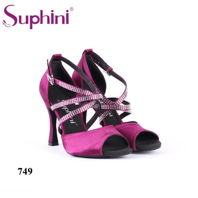 Free Shipping Suphini Women Ballroom Latin Dance Shoes Black Salsa High heels 6/7.5/8.5cm Red Samba Tango