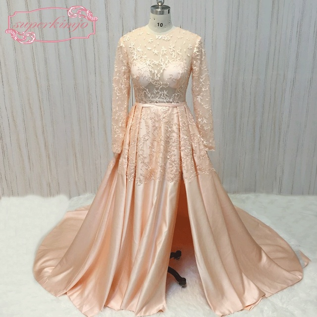 SuperKimJo Vestidos De Festa Long Sleeve Lace Peach Prom Dresses 2017  Elegant Saudi Arabic Prom Gowns with Sleeves 3e555b5214fe