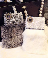 Lovely Pearls Fur Sparkly Rhinestones Case For IPhone 7 6 6S Plus 5 5S SE 5C
