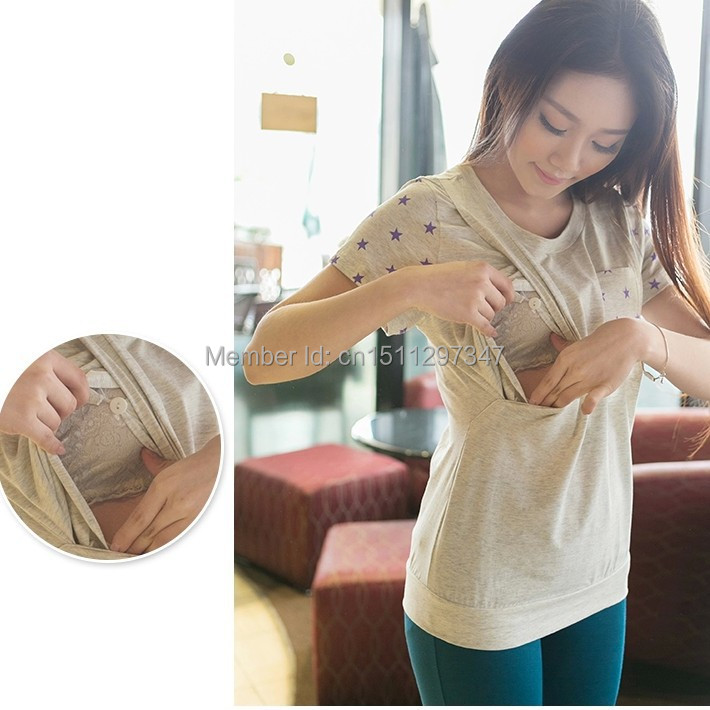 Breastfeeding Cotton Tee Breast Feeding Clothes Side Slit T Shirt 2017 Summer Maternity Short sleeve Nursing Clothing Top S-XL