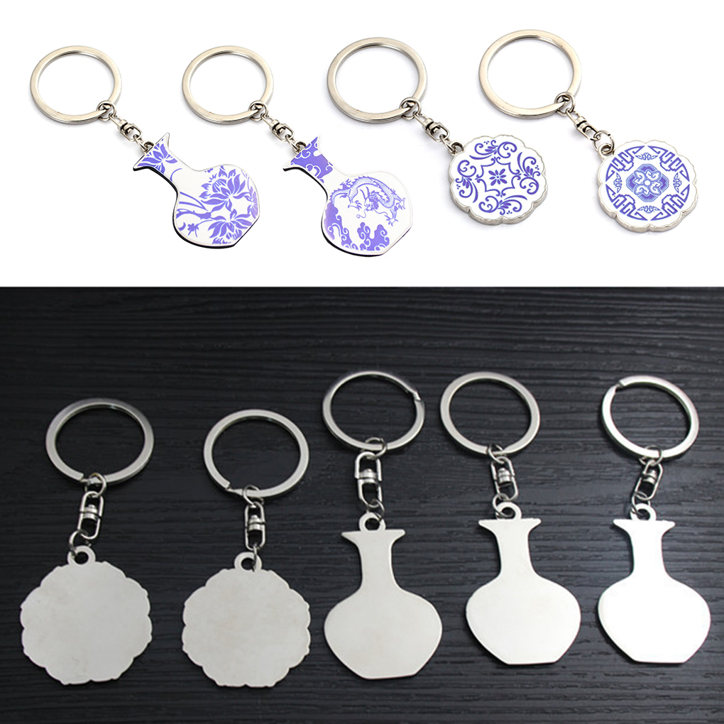Blue And White Porcelain Bottle Style Keychain Chinese Elements Zinc Alloy Pendant Keyring Key Holder Decor Accessories