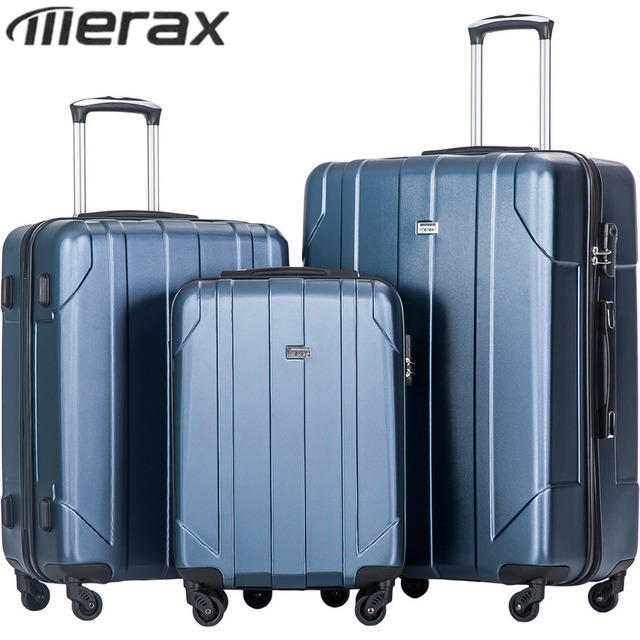 a109f5a18 Merax P.E.T Luggage Sets Light Weight 3pcs Blue Suitcase for Travel Trolley  Rolling Luggage Hardside Spinner Suitcase Lock mala