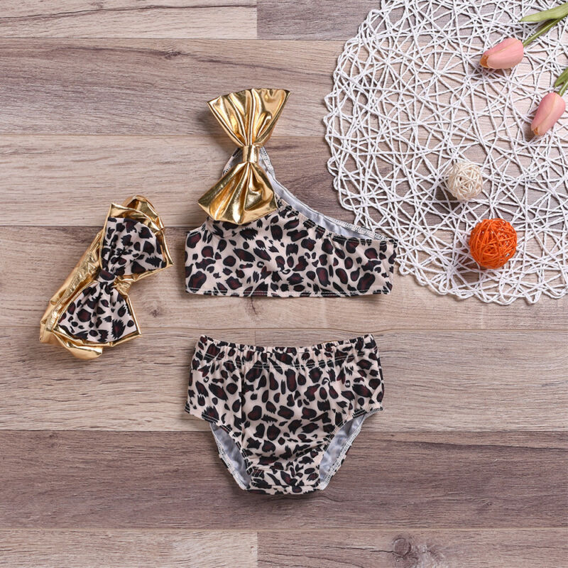 2019 New Summer Baby Girl Leopard Bowknot Bikini Set Swimsuit Swimwear Bather Suit Swimming Suit Casual Toddler Beachwear(China)