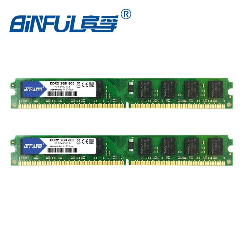 Binful DDR2 2 GB 800 MHz PC2-6400 4 GB (2Gx2) Memoria Ram Memoria para PC de escritorio de la computadora (Compatible con 667 MHz 533 MHz) 1,8 V