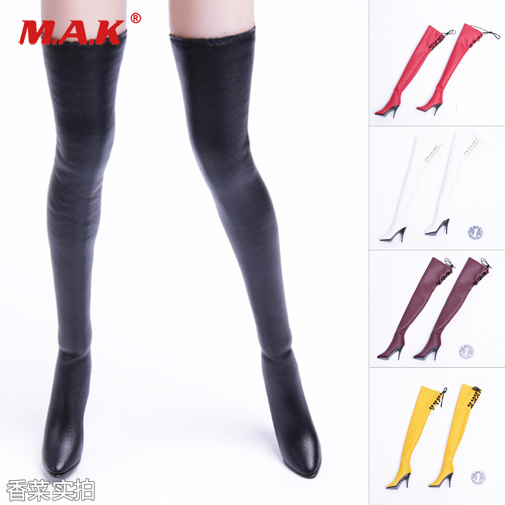 5 colors 1/6 <font><b>Scale</b></font> Action <font><b>figure</b></font> Accessories <font><b>Sexy</b></font> lace-up leather boots 4 Colors for 12 inches Female Body image