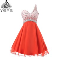 New Style A Line Chiffon V Neck Sleeveless Cocktail Dresses Off The Shoulder Sequined Pleat Formal
