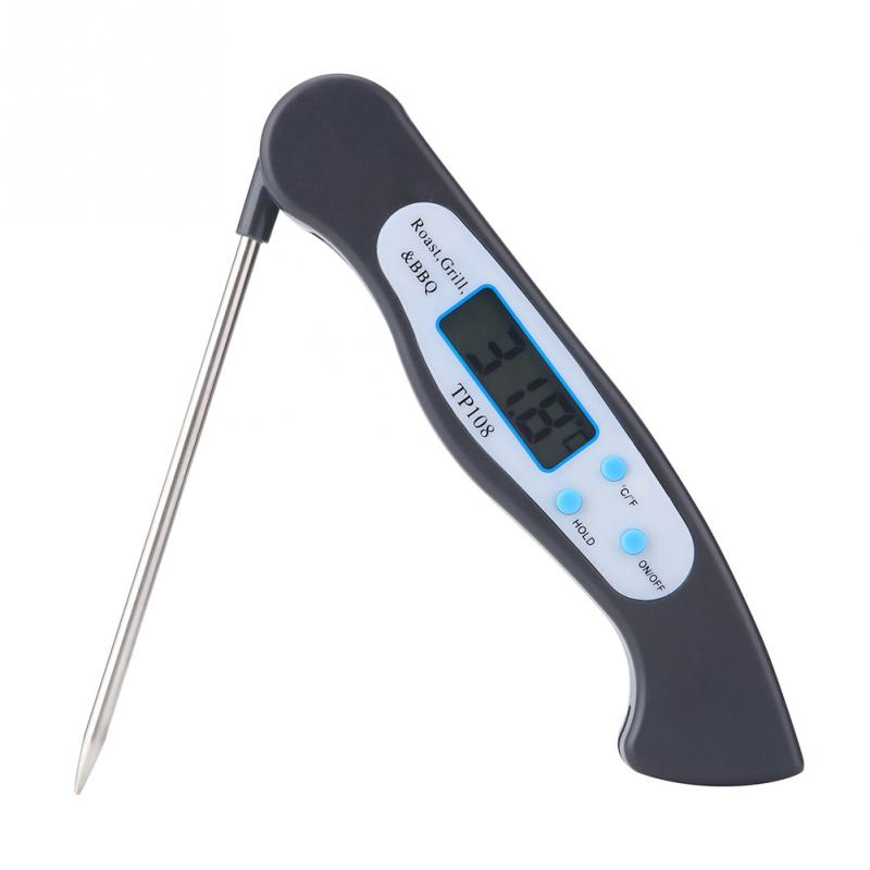 Foldable Food Thermometer Programmed Digital Kitchen Food Cooking BBQ Meat Fork Barbecue Probe Type Temperature Gauge TP108(China)