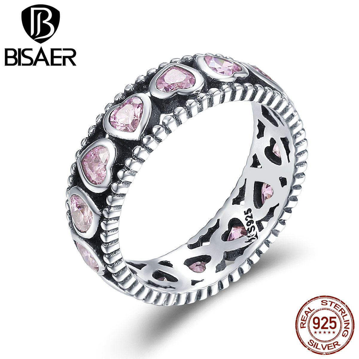BISAER 925 Sterling Silver Stackable Ring Radiant Heart Pink Crystal CZ Finger Rings for Women Wedding Engagement Jewelry GXR166