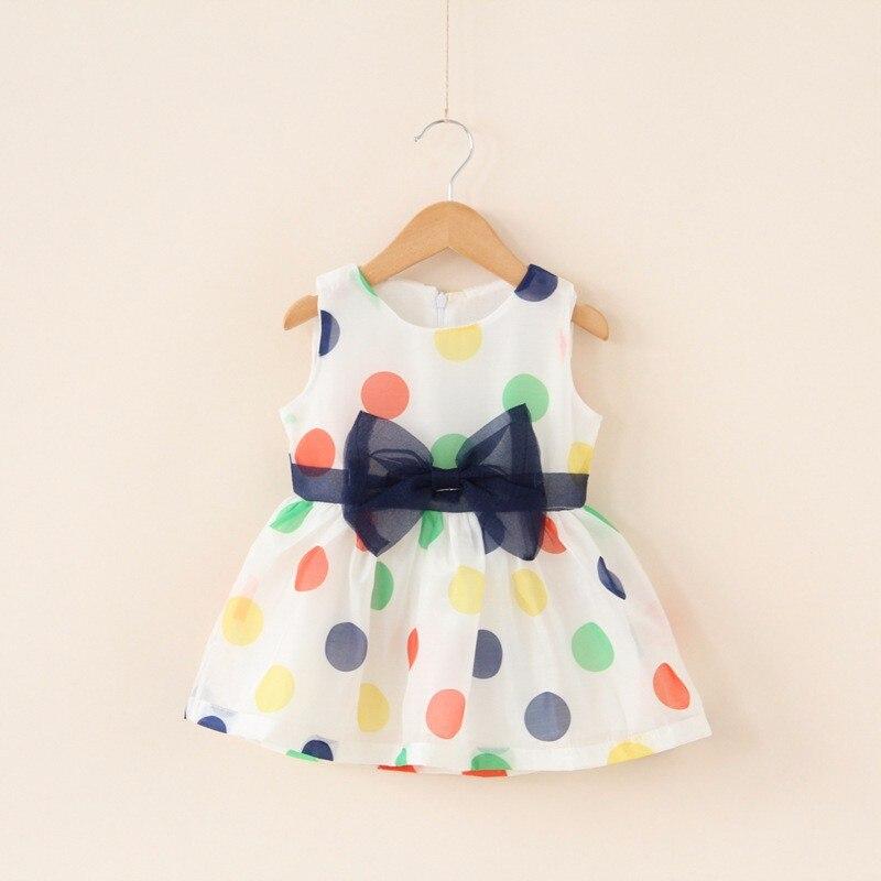 2016 Baby Girl Dress Summer Baby Bow Chiffon Dress Infant Girl Sleeveless Dot Dress 1 Year  Baby Birthday Dress Baby Clothes
