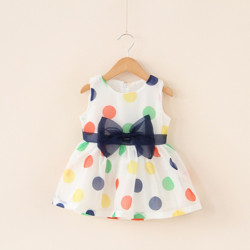 2018 Baby Girl Dress Baby Summer Sleeveless Bow Dot Chiffon Dress Infant Baby Cute Fashion Clothing Baby 1st Birthday Dress