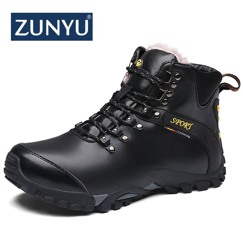ZUNYU Designer Men Winter leather Boots Male Ankle Snow Boots Waterproof Warm Fur Tactical Boot Shoes